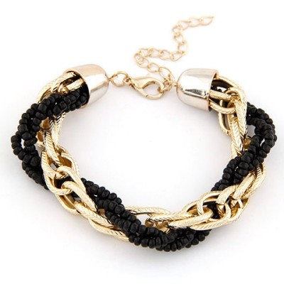 Pregnancy Black Metal Chain Twisted Beads Design Alloy Korean Fashion Bracelet