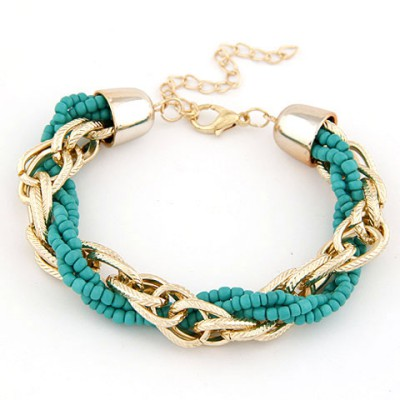 Papyrus Blue Metal Chain Twisted Beads Design Alloy Korean Fashion Bracelet