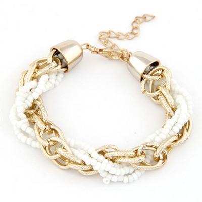 Baptism White Metal Chain Twisted Beads Design Alloy Korean Fashion Bracelet