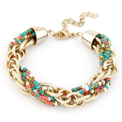 Plus Size Multicolor Metal Chain Twisted Beads Design Alloy Korean Fashion Bracelet