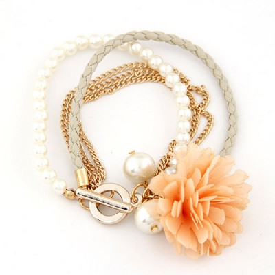 Dangle Light Yellow Multilayer Petals Flower Decorated Alloy Korean Fashion Bracelet
