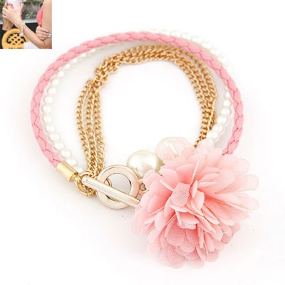 Fit Pink Multilayer Petals Flower Decorated Alloy Korean Fashion Bracelet