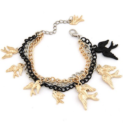 Cheerleadi Gold Color Metal Swallows Decorated Alloy Korean Fashion Bracelet