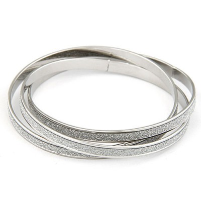Arrowhead Silver Color 3 Pcs Simple Circle Combination Alloy Fashion Bangles