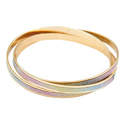 Down Multicolor 3 Pcs Simple Circle Combination Alloy Fashion Bangles