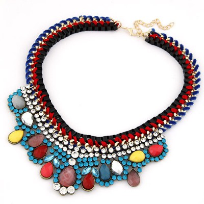 Stronglite Red Metal Weave Rope Fake Collar Design Alloy Bib Necklaces