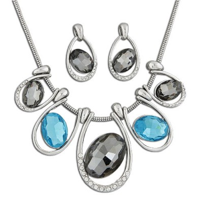 Claddagh Multicolor Oval Gemstone Round Snake Temperament Design Alloy Jewelry Sets