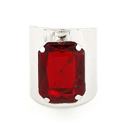 2013 Silver Color&Red Square Gemstone Decorated  Opening Design Alloy Korean Rings