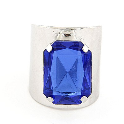 Baggy Silver Color&Sapphire Square Gemstone Decorated  Opening Design Alloy Korean Rings