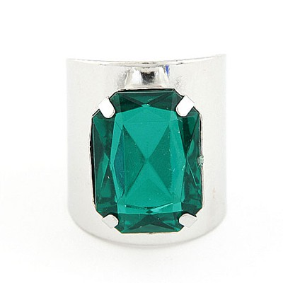 Celebrity Silver Color&Green Square Gemstone Decorated  Opening Design Alloy Korean Rings