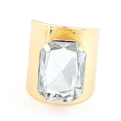Heather Gold Color&White Square Gemstone Decorated  Opening Design Alloy Korean Rings