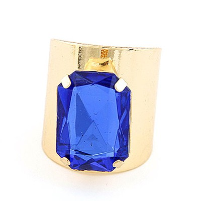 Tummy Gold Color&Sapphire Square Gemstone Decorated  Opening Design Alloy Korean Rings