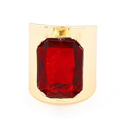 Hunting Gold Color&Red Square Gemstone Decorated  Opening Design Alloy Korean Rings