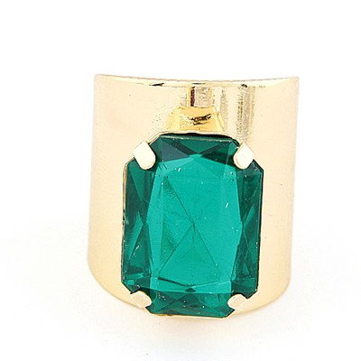 Active Gold Color&Green Square Gemstone Decorated  Opening Design Alloy Korean Rings