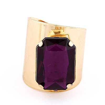 Fashion Gold Color&Purple Square Gemstone Decorated  Opening Design Alloy Korean Rings