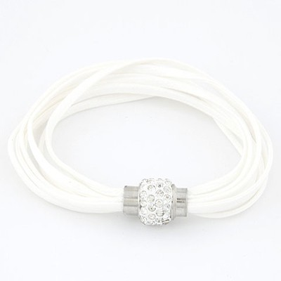 18K White Bright Ball Decorated Multilayers Exquisite Design Alloy Korean Fashion Bracelet
