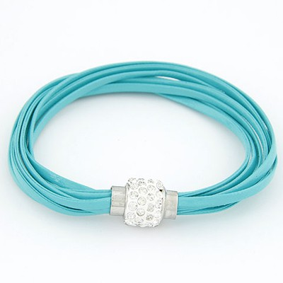 Slacks Light Blue Bright Ball Decorated Multilayers Exquisite Design Alloy Korean Fashion Bracelet