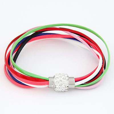Pendants Multicolor Bright Ball Decorated Multilayers Exquisite Design Alloy Korean Fashion Bracelet