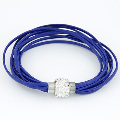 Punk Blue Bright Ball Decorated Multilayers Exquisite Design Alloy Korean Fashion Bracelet