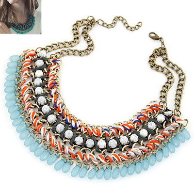 Peterbilt Light Blue Multilayer Weave Water Drop Pendant Design Alloy Bib Necklaces