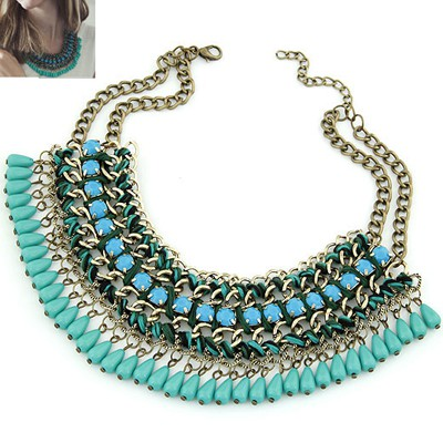 Newborn dark green Multilayer Weave Water Drop Pendant Design Alloy Bib Necklaces