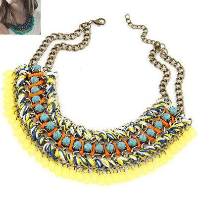 Active Yellow Multilayer Weave Water Drop Pendant Design Alloy Bib Necklaces