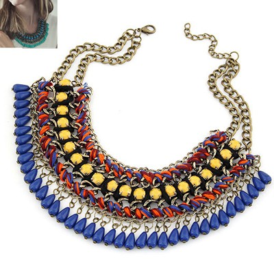 Noble Ocean Blue Multilayer Weave Water Drop Pendant Design Alloy Bib Necklaces
