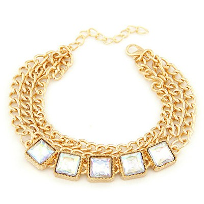 Magnetic Gold Color Five Gemstones Decorated Three Layers Chain Design Alloy Korean Fashion Bracelet
