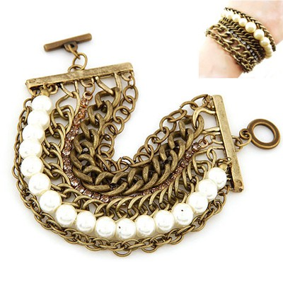Bridal White Pearl Decorated Multilayer Chain Wide Design Alloy