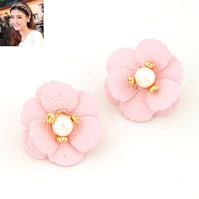 Current Pink Sweet Flower Pearl Design Alloy Stud Earrings