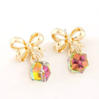 Creative Multicolor Sweet Bowknot Decorated Cube Shape Design