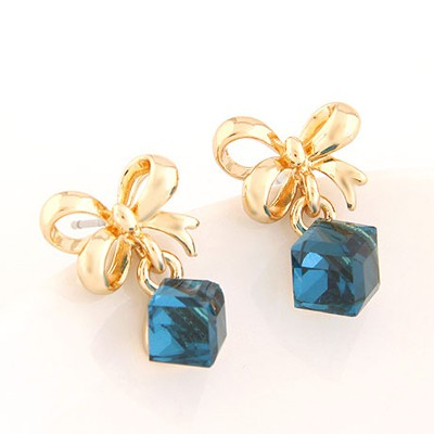 New Dark Blue Sweet Bowknot Decorated Cube Shape Design