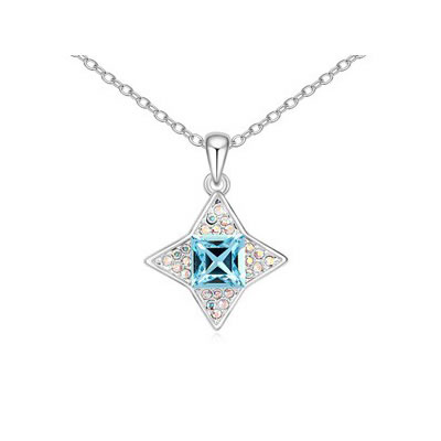 Tie Ocean Blue sparkly four-pointed star pendant Austrian Crystal Crystal Necklaces