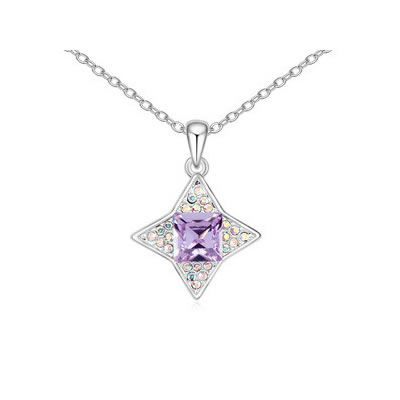 Magnifying Violet sparkly four-pointed star pendant Austrian Crystal Crystal Necklaces