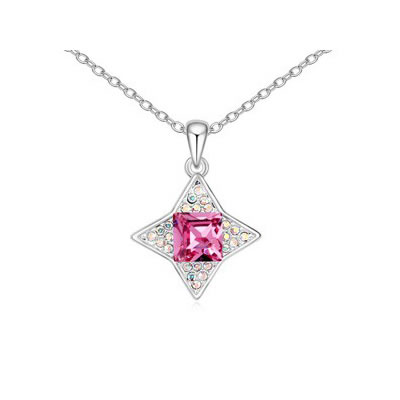 High Waist Plum Red sparkly four-pointed star pendant Austrian Crystal Crystal Necklaces