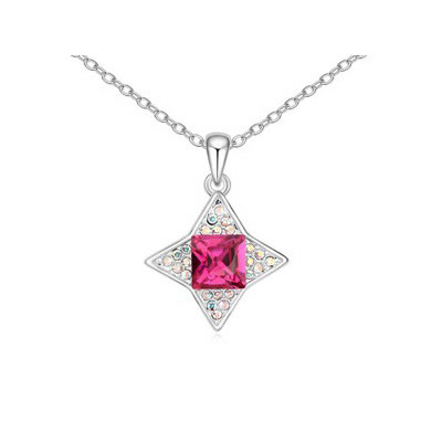 Bodybuildi Purplish Red sparkly four-pointed star pendant Austrian Crystal Crystal Necklaces