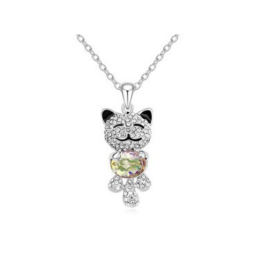 Luxury Luminous Green lovely smile bear pendant Austrian Crystal Crystal Necklaces