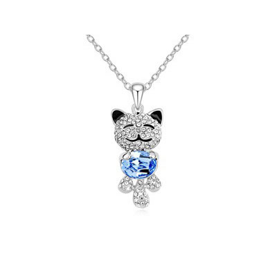 Eco Light Blue lovely smile bear pendant Austrian Crystal Crystal Necklaces
