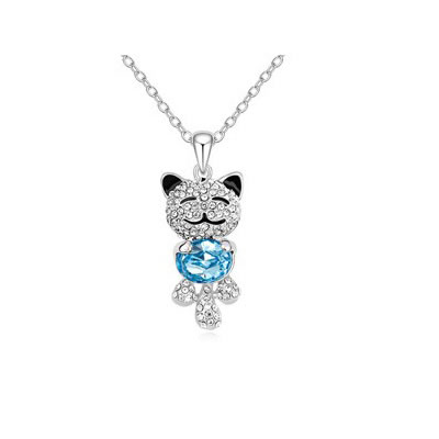 Tory Ocean Blue lovely smile bear pendant Austrian Crystal Crystal Necklaces
