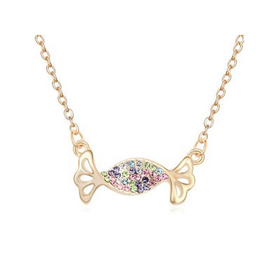 Tapered Multicolor&Champagne Gold Auspicious fish pendant Austrian Crystal Crystal Necklaces