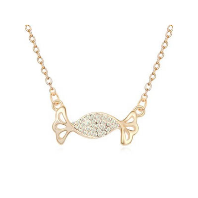 Colorful Color White&Champagne Gold Auspicious fish pendant Austrian Crystal Crystal Necklaces