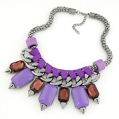 Down Purple bohemia style gemstone rivet pendant Alloy Bib Necklaces