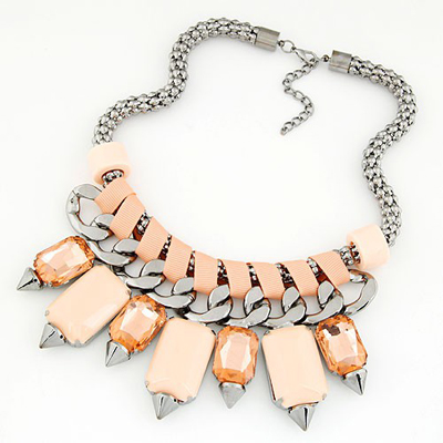 Wonderful Light Orange bohemia style gemstone rivet pendant Alloy Bib Necklaces