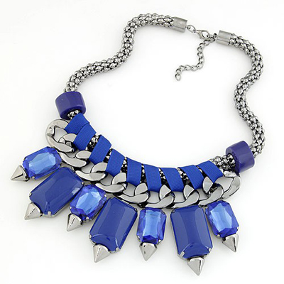 Deathly Sapphire bohemia style gemstone rivet pendant Alloy Bib Necklaces