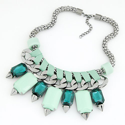 Plated Light Blue bohemia style gemstone rivet pendant Alloy Bib Necklaces