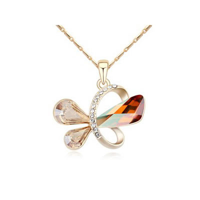 Glossy Crystal Copper&Champagne Gold Heart Shape Pendant Austrian crystal Crystal Necklaces