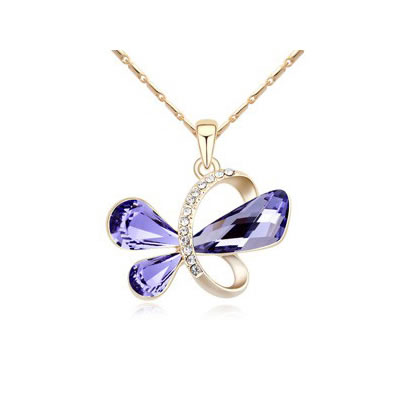 Baptism Tanzanite&Champagne Gold Heart Shape Pendant Austrian crystal Crystal Necklaces