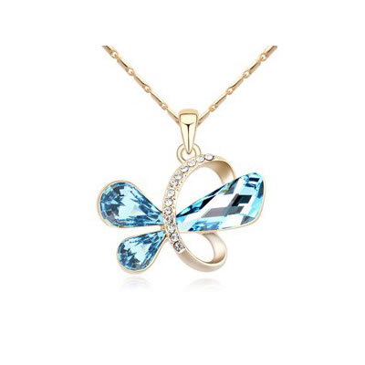 Apparel Navy Blue&Champagne Gold Heart Shape Pendant Austrian crystal Crystal Necklaces