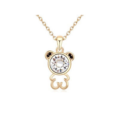 Affordable White Lovely Bear Pendant Austrian crystal Crystal Necklaces
