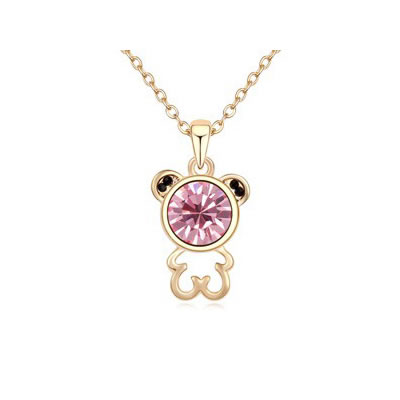 Stronglite Plum Red Lovely Bear Pendant Austrian crystal Crystal Necklaces